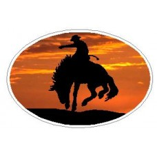Oval Rodeo Cowboy Decal