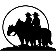 Cowboy Couple Under Sunset Decal