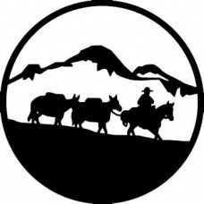 Cowboy and Cattle Sticker