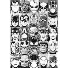 25 superheros and villians weatherproof sticker can you name them all