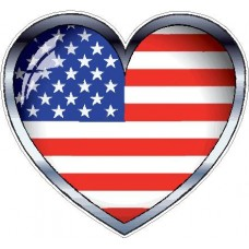 3D Heart Flag Sticker