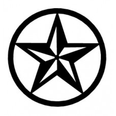 3d star black and white circle