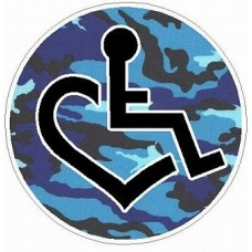 3E LOVE camo blue circular sticker
