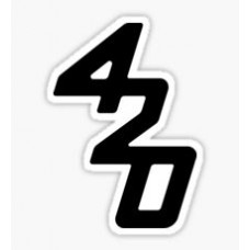 420 black and white weed sticker