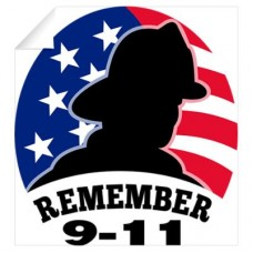 911 Firefighter US Flag Logo Decal 02