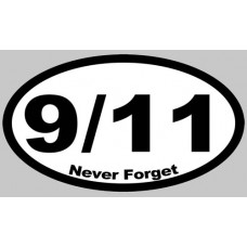 911 Never Forget White Oval Sticker
