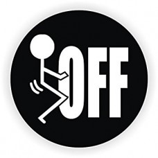 aa fuck off b&w round sticker