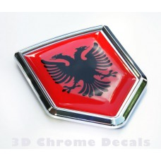 Albania Flag Car Chrome Emblem 3D Decal Sticker