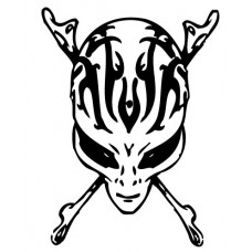 Alien Crossbones Die Cut Vinyl Decal