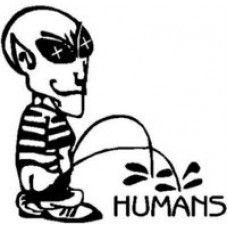 Alien Peeon Humans Diecut Decal