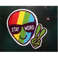 alien stay weird rainbow head sticker