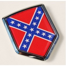 American Rebel Confederate Flag Crest Emblem Chrome Car Decal