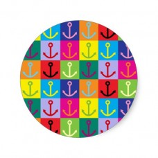 anchor round sticker