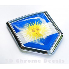Argentina Flag Crest Car Chrome Emblem 3D Decal Sticker