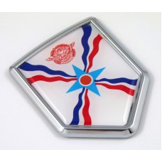 Assyrian 3D Chrome Flag Crest Emblem Car Decal