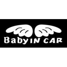 Baby in Car with Wings Decal
