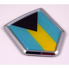 Bahamas Flag Crest 3D Decal Crest Chrome Emblem Sticker