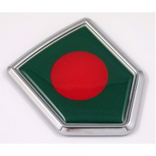 Bangladesh 3D Chrome Flag Crest Emblem Car Decal