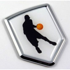 Basketball Logo 3D Shield Emblem Domed Sticker