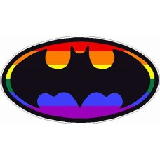 Bat Oval Pride Flag Sticker