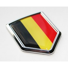 Belgium Flag Crest Decal Car 3D Chrome Emblem Sticker