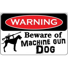 beware of machine gun dog sticker set