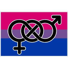 bisexual flag and symbol sticker