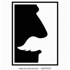 Black and White Rectangular Moustache Sticker