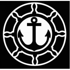 Boat Wheel and Anchor Vinyl Boating Decal