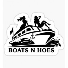 boats and hoes B&W sticker