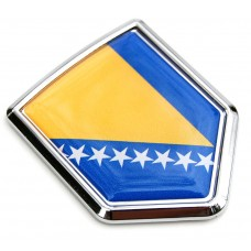 Bosnia Flag Crest Decal Car Chrome Emblem Sticker