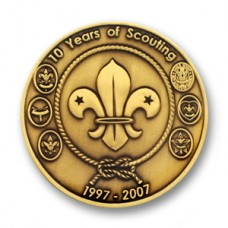 boy scout 10 year coin sticker