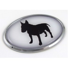 Bull Terrier 3D Adhesive Oval Chrome Pet Emblemr