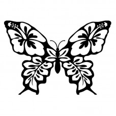Butterfly-Hibiscus-Flower-Decal