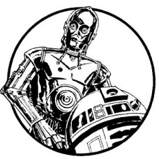 C3PO and r2d2 circular black and white decal