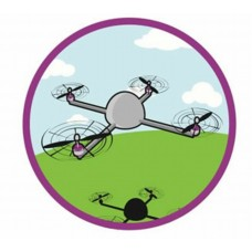 cartoon drone circular decal