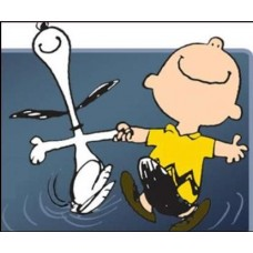 Charlie Brown and Snoopy Dancing Color Decal