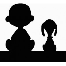 charlie brown ands snoopy silhouette diecut decal