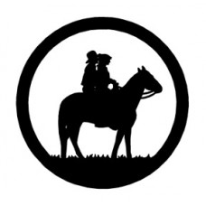 Cowboy and Girl on Horse Circle Decal