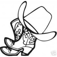 Cowboy Boots Hat Western Rider Decal