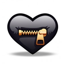 Crazy-BLACK ZIPPER Heart-Sticker