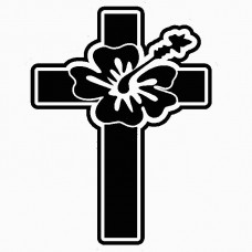 Cross Hawaiian Flower sticker
