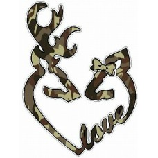 DEER HEADS HEART FILLS with LOVE camo brown