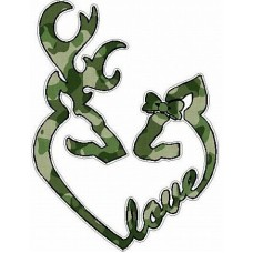 DEER HEADS HEART FILLS with LOVE camo green