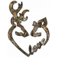 DEER HEADS HEART FILLS with LOVE camo nature