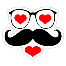 Diecut Color Moustache Stickers 7