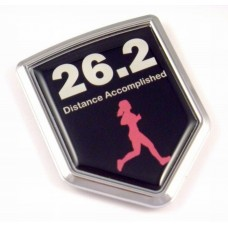Distance Accomptlished Woman Shield 3D Running Chrome Emblem