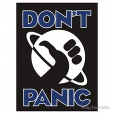 dont-panic BLUE WHITE STICKER