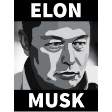 elon musk b&w sticker