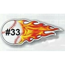 ! Flaming Baseball Softball Magnetic Car Sign